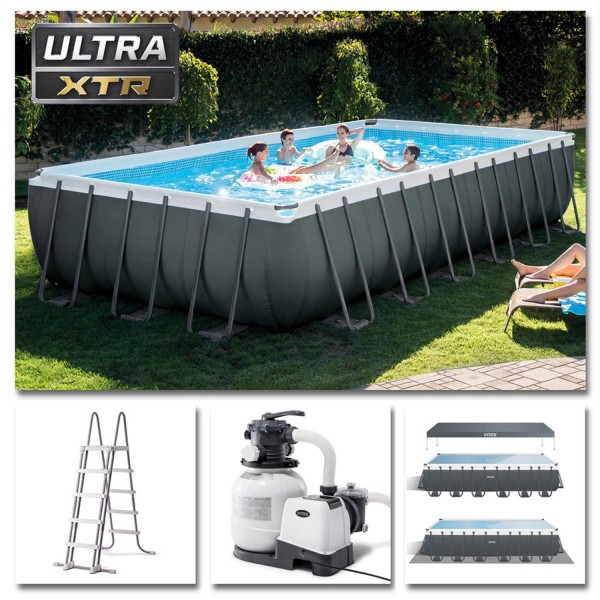 Intex Swimming Pool Ultra Frame Pool Set 732x366x132cm XTR Schwimmbad Sandfilter