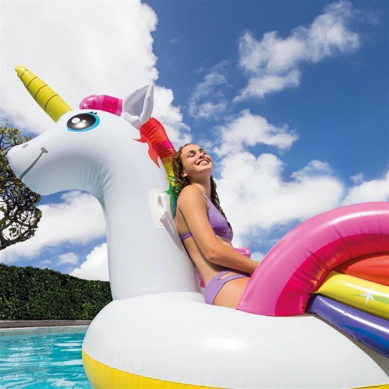 Intex 57281 Einhorn Badeinsel Lounge Luftmatratze Liege Unicorn 287x193x165 cm