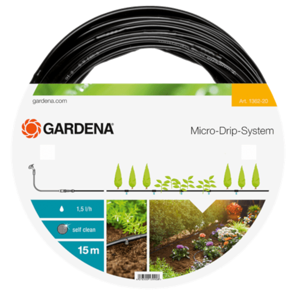 """Gardena 1362-20 Micro-Drip-System Tropfrohr oberirdisch 4,6mm (3/16""""), 1,5l/h, 15m, ohne Armaturen"""