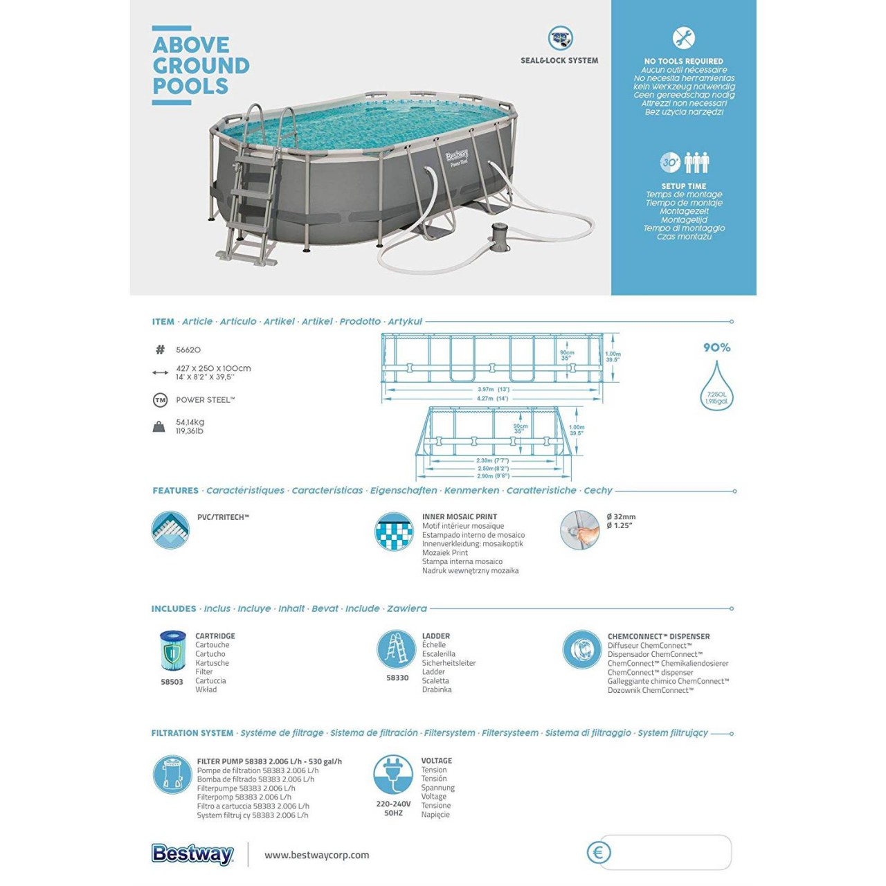 Bestway 56620 Frame Pool Power Steel Oval 424x250x100 cm Filterpumpe Leiter