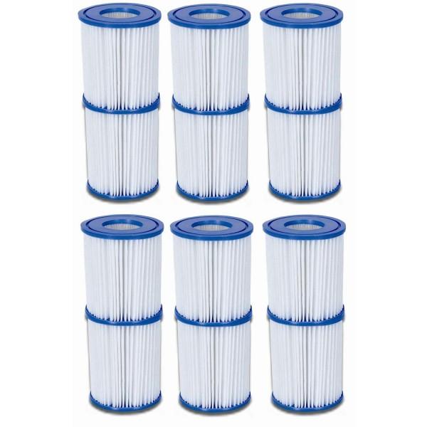 Bestway 58094 Filterkartuschen 12 Stück Filterpatrone Größe 2 Ø 10,6cm x 13,6cm