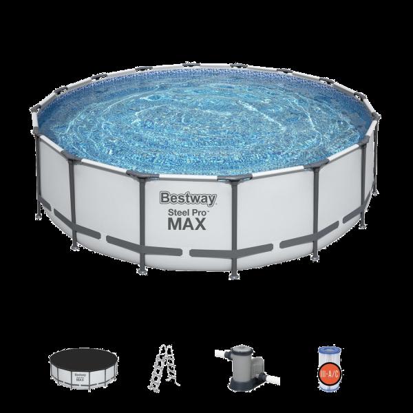 Bestway 5612Z Steel Pro MAX Frame Pool Set Ø488x122cm Pumpe Leiter Abdeckplane