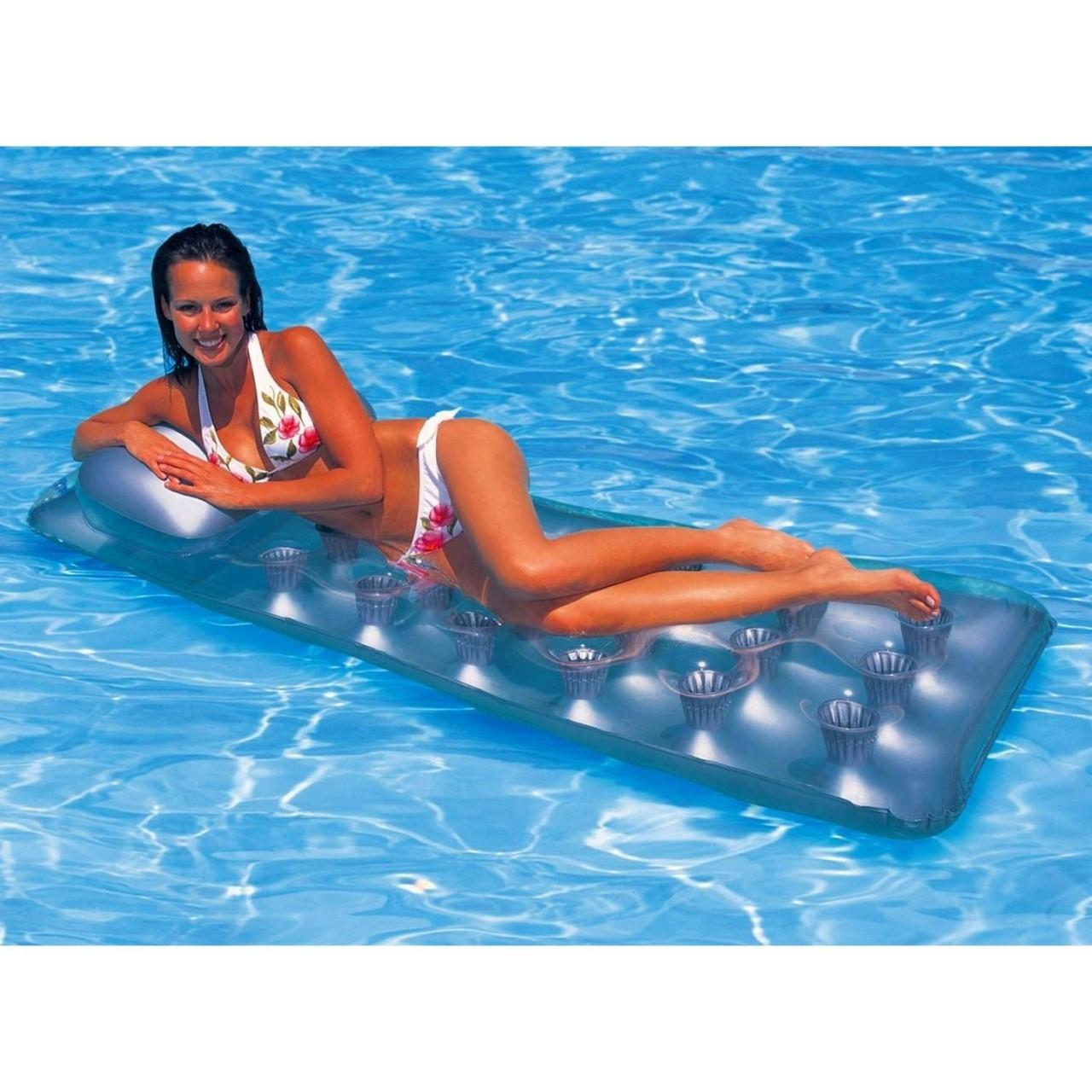 Intex Luftmatratze Schwimmliege Pocket transparent 188 x 71 cm 58894 aufblasbar