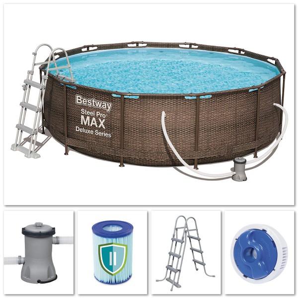 Bestway 56709 Steel Pro Max Pool Deluxe Series Rattanoptik Frame Pool 366x100 cm