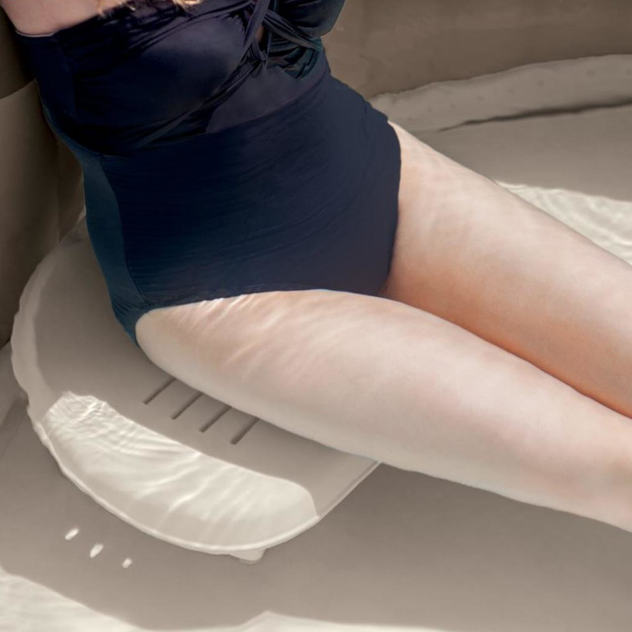 Intex Whirlpool Zubehör Kunststoff-Sitz höhenverstellbar für Pure SPA, beige, 47 x 36 x 22 cm