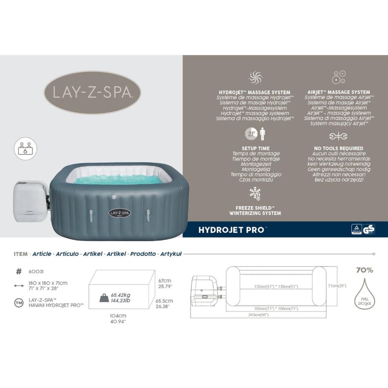 Bestway 60031 Whirlpool Lay-Z-Spa Hawaii HydroJet Pro aufblasbar Heizung Ø180x71