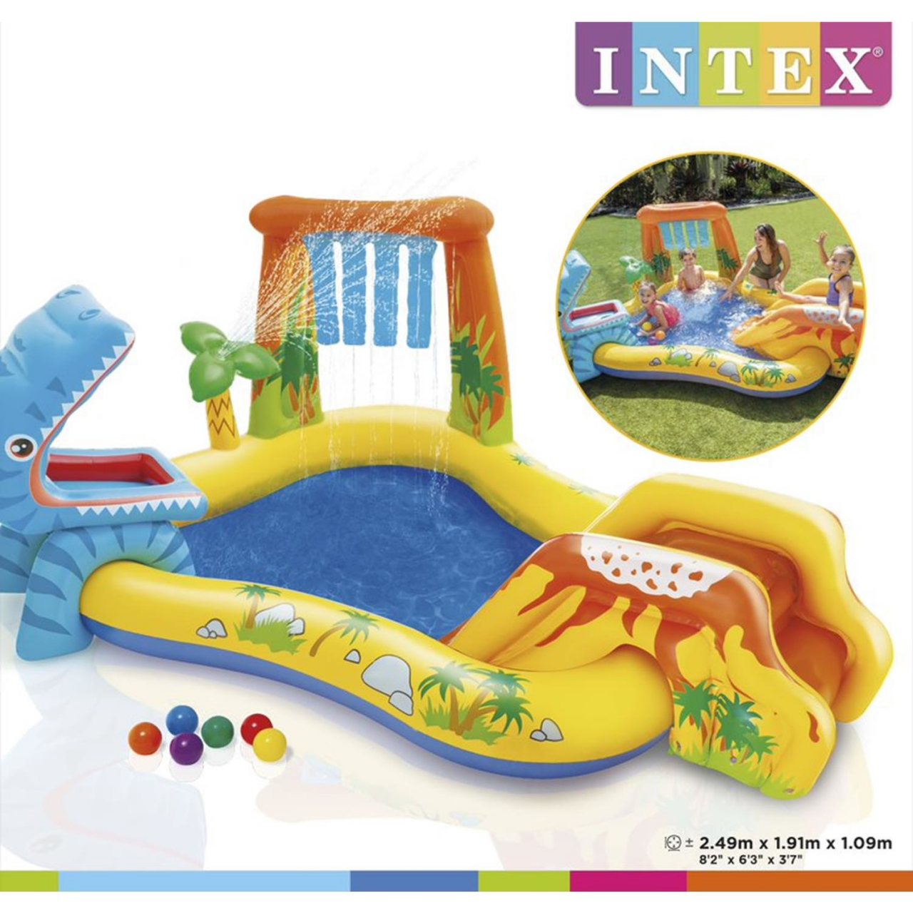 Intex Play Center Dino Planschbecken Pool Wasserrutsche Wasserfall aufblasbar