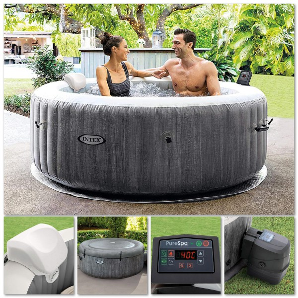 Intex 28440 Whirlpool Pure SPA Bubble Massage GreyWood 196x71 cm aufblasbar