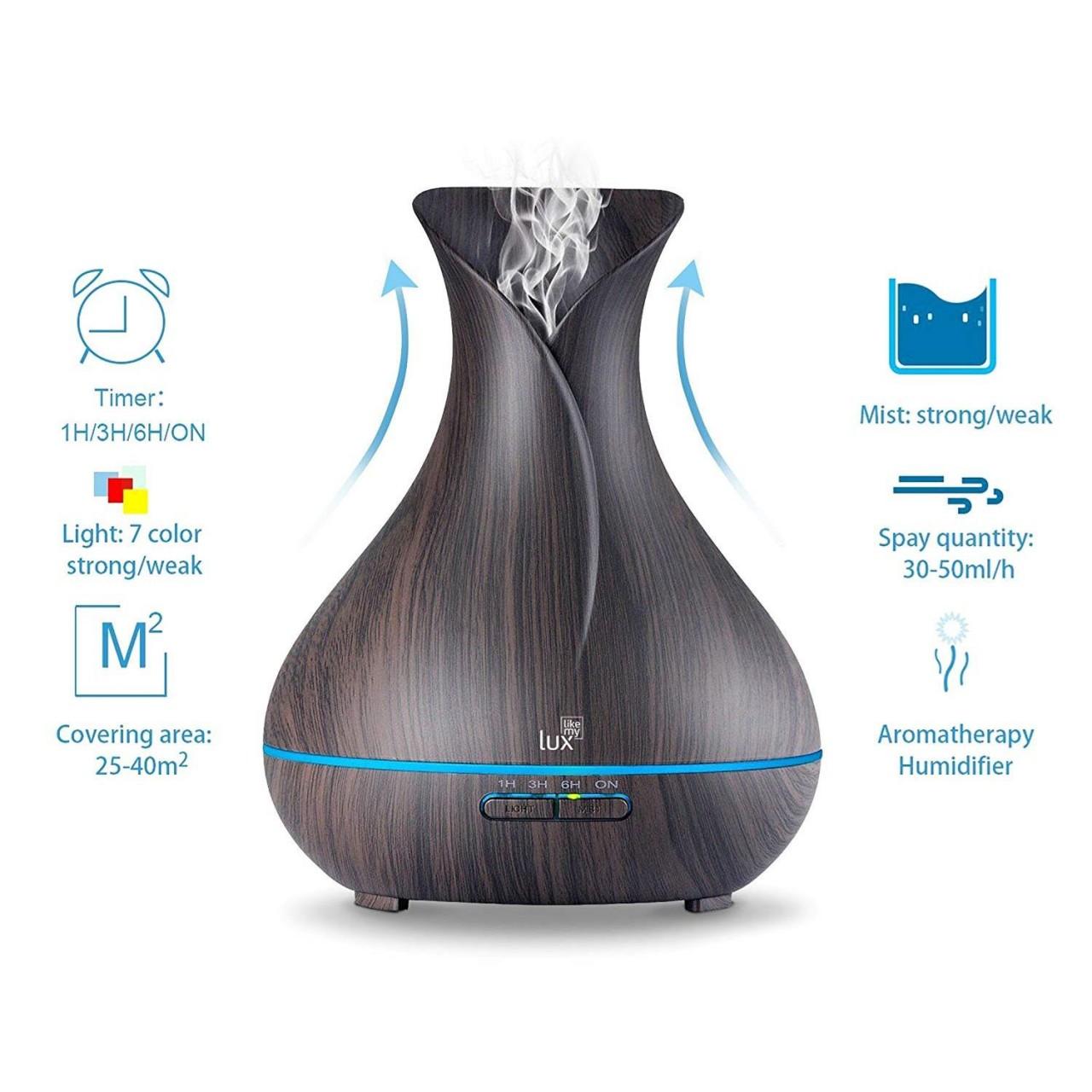 Aroma Diffuser Likemylux 400ml Luftbefeuchter Ultraschall Öl Diffusor LED schwarz