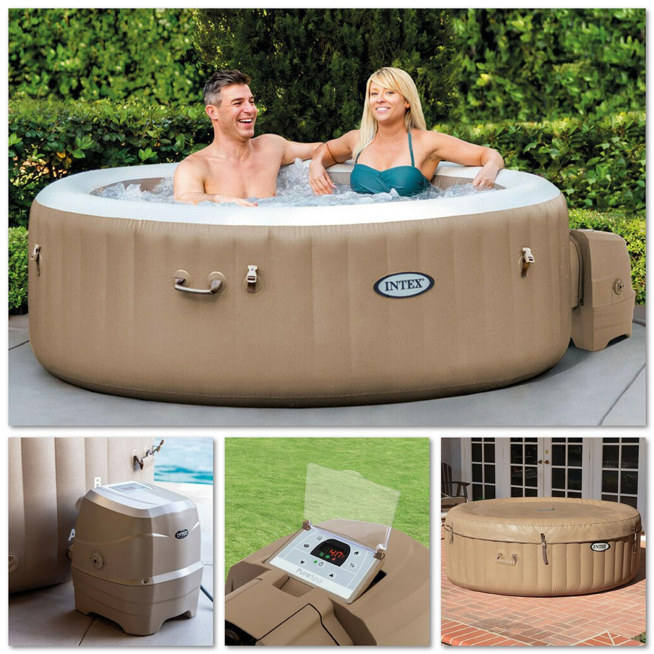 Intex 28426 Whirlpool Pure SPA Bubble Massage 196x71 cm aufblasbar 4 Personen