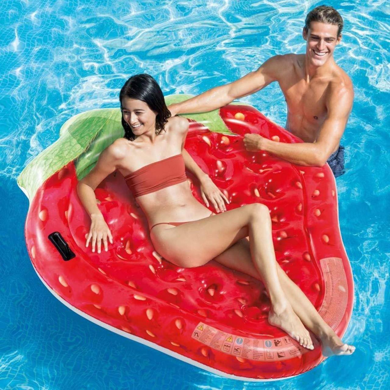 Intex Luftmatratze Erdbeere Badeinsel Wasserliege 168x142 cm aufblasbar 58781